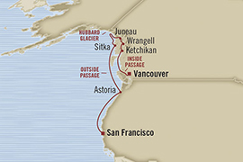 LUXURY CRUISES - Penthouse, Veranda, Balconies, Windows and Suites Oceania Regatta May 10-20 2022 San Francisco, CA, United States to Vancouver, Canada