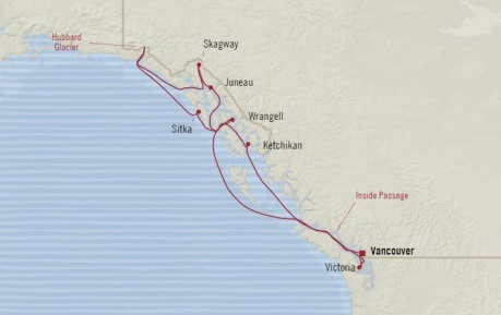 Cruises Oceania Regatta Map Detail Vancouver, Canada to Vancouver, Canada August 31 September 10 2017 - 10 Days