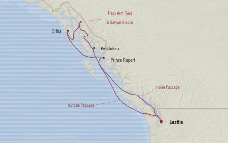 Cruises Oceania Regatta Map Detail Seattle, WA, United States to Seattle, WA, United States August 7-14 2017 - 7 Days