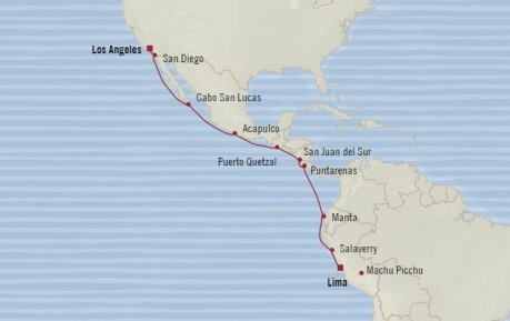 Cruises Oceania Regatta Map Detail Callao, Peru to Los Angeles, CA, United States December 1-15 2017 - 14 Days