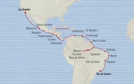 Cruises Oceania Regatta Map Detail Los Angeles, CA, United States to Rio De Janeiro, Brazil December 15 2017 January 19 2018 2017 - 35 Days