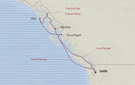 Cruises Oceania Regatta Map Detail Seattle, WA, United States to Seattle, WA, United States July 14-21 2017 - 7 Days