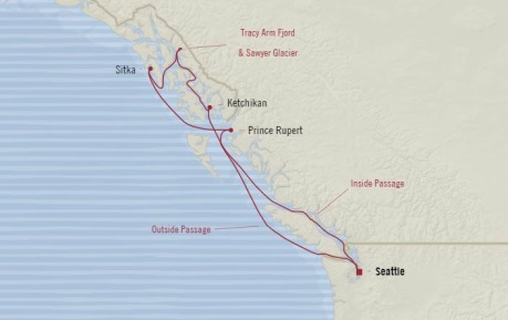 Cruises Oceania Regatta Map Detail Seattle, WA, United States to Seattle, WA, United States July 7-14 2017 - 7 Days