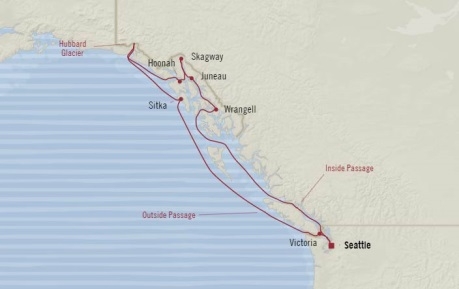 Cruises Oceania Regatta Map Detail Seattle, WA, United States to Seattle, WA, United States June 20-30 2017 - 10 Days