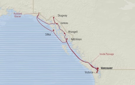 Cruises Oceania Regatta Map Detail Vancouver, Canada to Vancouver, Canada May 31 June 10 2017 - 10 Days