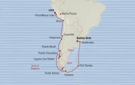 Cruises Oceania Regatta Map Detail Buenos Aires, Argentina to Callao, Peru November 10 December 1 2017 - 21 Days