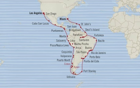 Cruises Oceania Regatta Map Detail Miami, FL, United States to Los Angeles, CA, United States October 8 December 15 2017 - 68 Days