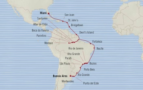 Cruises Oceania Regatta Map Detail Miami, FL, United States to Buenos Aires, Argentina October 8 November 10 2017 - 34 Days