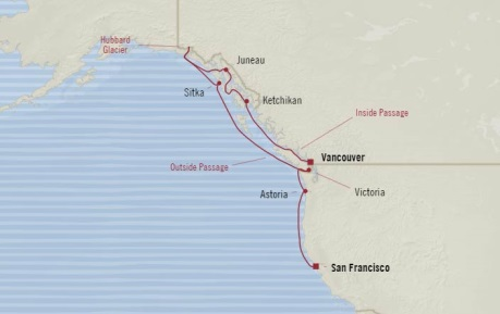 Cruises Oceania Regatta Map Detail Vancouver, Canada to San Francisco, CA, United States September 10-20 2017 - 10 Days
