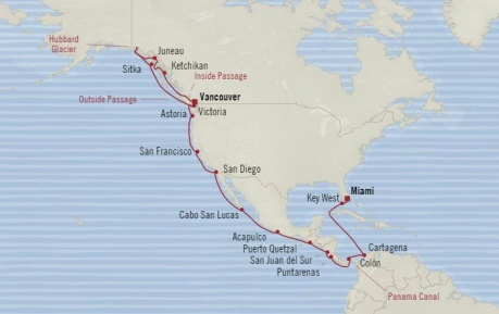 Cruises Oceania Regatta Map Detail Vancouver, Canada to Miami, FL, United States September 10 October 8 2017 - 28 Days