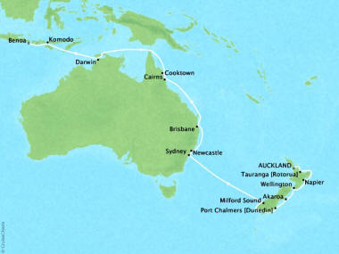Cruises Oceania Regetta Map Detail Auckland, New Zealand to Benoa (Bali), Indonesia February 5 March 1 2018 - 25 Days