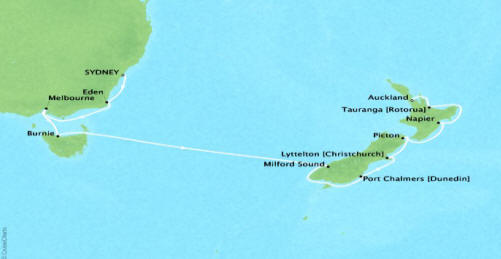 Cruises Oceania Regetta Map Detail Sydney, Australia to Auckland, New Zealand January 23 February 5 2018 - 13 Days