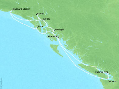 Cruises Oceania Regatta Map Detail Vancouver, Canada to Vancouver, Canada June 2-12 2018 - 10 Days