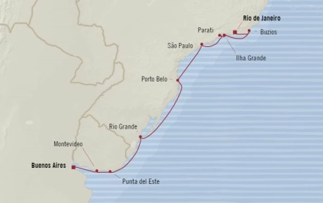 Cruises Oceania Regatta Map Detail Buenos Aires, Argentina to Rio De Janeiro, Brazil March 16-28 2018 - 12 Days