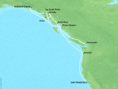 Cruises Oceania Regatta Map Detail San Francisco, CA, United States to Vancouver, Canada May 22 June 2 2018 - 12 Days
