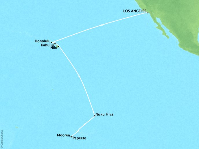 Cruises Oceania Regatta Map Detail Los Angeles, CA, United States to Bora Bora, French Polynesia November 11-28 2018 - 17 Days