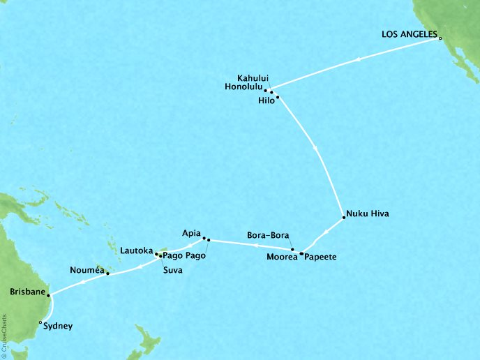 Cruises Oceania Regatta Map Detail Los Angeles, CA, United States to Sydney, Australia November 11 December 13 2018 - 32 Days