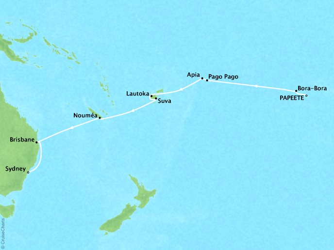 Cruises Oceania Regatta Map Detail Papeete, French Polynesia to Sydney, Australia November 27 December 13 2018 - 16 Days