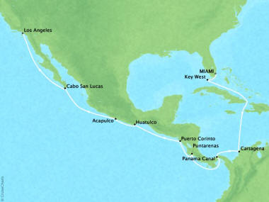 Cruises Oceania Regatta Map Detail Miami, FL, United States to Los Angeles, CA, United States October 26 November 11 2018 - 16 Days