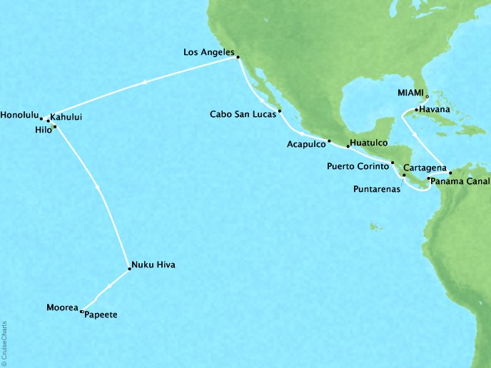 Cruises Oceania Regatta Map Detail Miami, FL, United States to Papeete, French Polynesia October 26 November 27 2018 - 32 Days