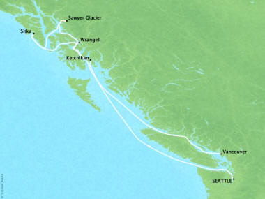 Cruises Oceania Regatta Map Detail Seattle, WA, United States to Vancouver, Canada September 10-17 2018 - 7 Days