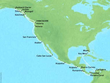 Cruises Oceania Regatta Map Detail Vancouver, Canada to Miami, FL, United States September 27 October 26 2018 - 29 Days