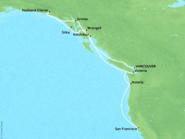 Cruises Oceania Regatta Map Detail Vancouver, Canada to San Francisco, CA, United States September 27 October 8 2018 - 11 Days