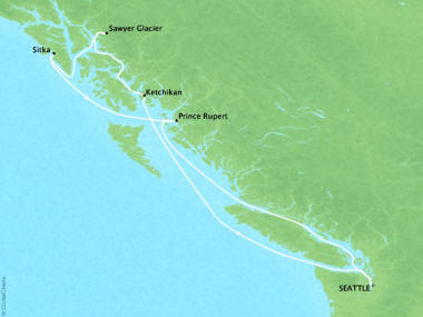 Cruises Oceania Regatta Map Detail Seattle, WA, United States to Seattle, WA, United States September 3-10 2018 - 7 Days