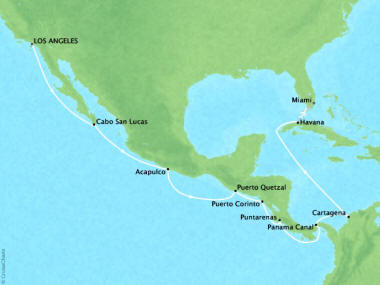 Cruises Oceania Regatta Map Detail Los Angeles, CA, United States to Miami, FL, United States April 1-17 2019 - 16 Days