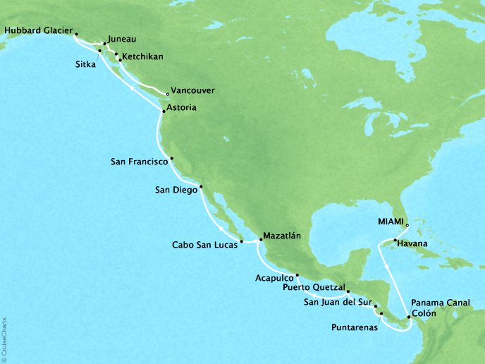 Cruises Oceania Regatta Map Detail Los Angeles, CA, United States to Vancouver, BC, Canada April 1-29 2019 - 28 Days