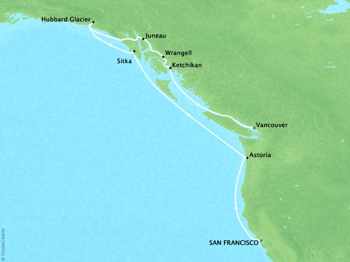 Cruises Oceania Regatta Map Detail San Francisco, CA, United States to Vancouver, BC, Canada April 19-29 2019 - 10 Days