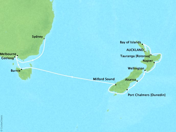 Cruises Oceania Regatta Map Detail Auckland, New Zealand to Sydney, Australia February 15 March 1 2019 - 14 Days