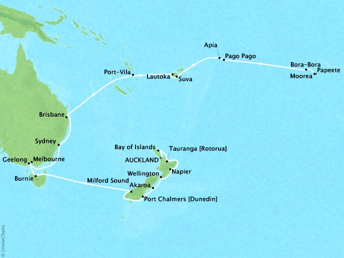 Cruises Oceania Regatta Map Detail Auckland, New Zealand to Papeete, French Polynesia February 15 March 16 2019 - 29 Days