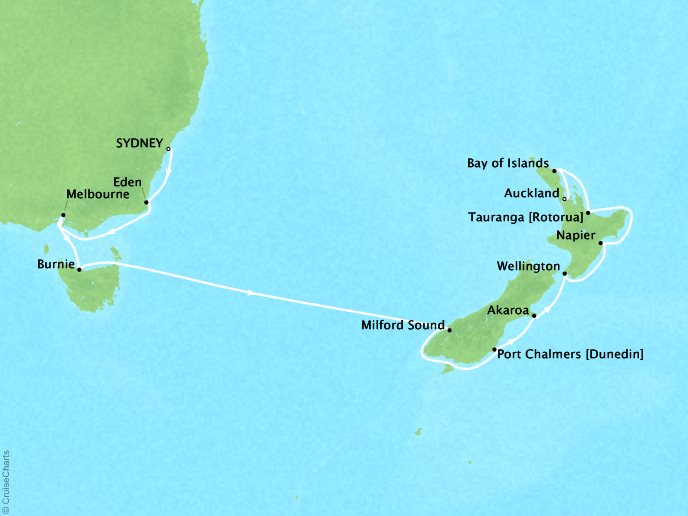 Cruises Oceania Regatta Map Detail Sydney, Australia to Auckland, New Zealand January 16-30 2019 - 14 Days