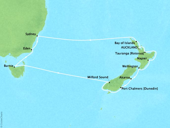 Cruises Oceania Regatta Map Detail Auckland, New Zealand to Auckland, New Zealand January 30 February 15 2019 - 15 Days