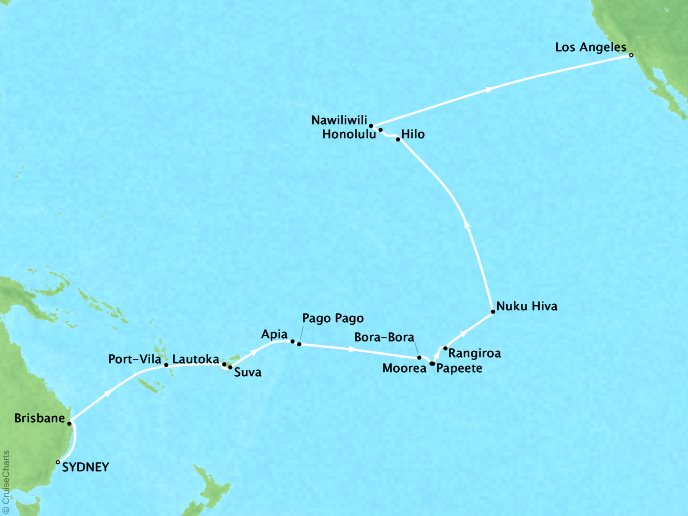 Cruises Oceania Regatta Map Detail Sydney, Australia to Los Angeles, CA, United States March 1 April 1 2019 - 31 Days