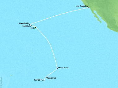Cruises Oceania Regatta Map Detail Papeete, French Polynesia to Los Angeles, CA, United States March 16 April 1 2019 - 15 Days