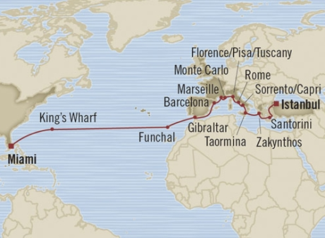 LUXURY CRUISE - Balconies-Suites Oceania Riviera April 11 May 5 2019 Miami, FL, United States to Istanbul, Turkey