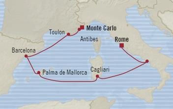 SINGLE Cruise - Balconies-Suites Oceania Riviera August 17-24 2019 Monte Carlo, Monaco to Civitavecchia, Italy