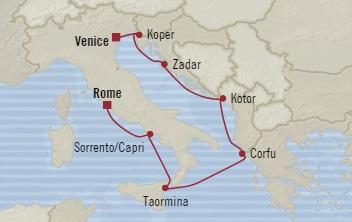 Singles Cruise - Balconies-Suites Oceania Riviera August 24-31 2019 Civitavecchia, Italy to Venice, Italy
