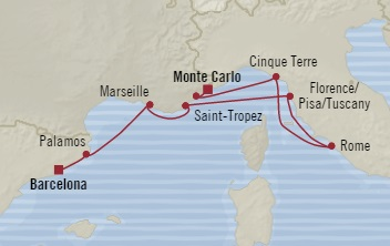 SINGLE Cruise - Balconies-Suites Oceania Riviera August 9-17 2019 Barcelona, Spain to Monte Carlo, Monaco