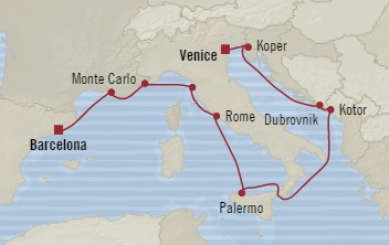 Singles Cruise - Balconies-Suites Oceania Riviera July 28 August 9 2019 Venice, Italy to Barcelona, Spain