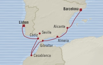 SINGLE Cruise - Balconies-Suites Oceania Riviera July 3-10 2019 Barcelona, Spain to Lisbon, Portugal
