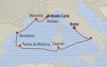 Singles Cruise - Balconies-Suites Oceania Riviera June 19-26 2019 Civitavecchia, Italy to Monte Carlo, Monaco