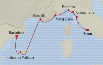 Singles Cruise - Balconies-Suites Oceania Riviera May 2-9 2019 Barcelona, Spain to Civitavecchia, Italy