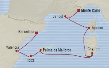 SINGLE Cruise - Balconies-Suites Oceania Riviera June 26 July 3 2019 Monte Carlo, Monaco to Barcelona, Spain