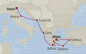Singles Cruise - Balconies-Suites Oceania Riviera May 12-21 2019 Piraeus, Greece to Venice, Italy