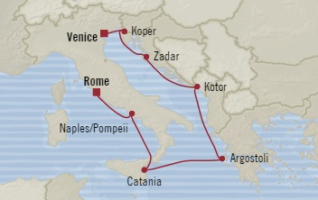 Singles Cruise - Balconies-Suites Oceania Riviera November 2-9 2019 Civitavecchia, Italy to Venice, Italy