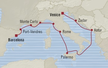 Singles Cruise - Balconies-Suites Oceania Riviera November 9-21 2019 Venice, Italy to Barcelona, Spain