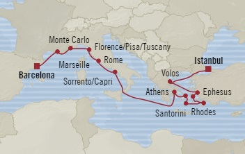 SINGLE Cruise - Balconies-Suites Oceania Riviera October 2-16 2019 Istanbul, Turkey to Barcelona, Spain